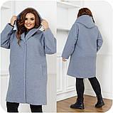 Женское демисезонное пальто с карманами букле барашек+подклад размер:48-50,52-54,56-58,60-62,64-66, фото 4