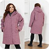 Женское демисезонное пальто с карманами букле барашек+подклад размер:48-50,52-54,56-58,60-62,64-66, фото 2
