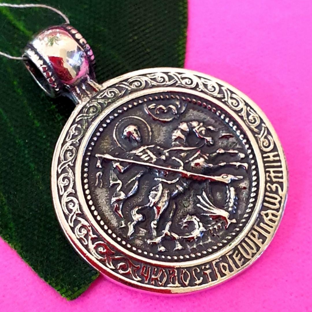 Серебряная ладанка Георгий Победоносец - Кулон Георгий Победоносец серебро - Иконка серебряная Георгий