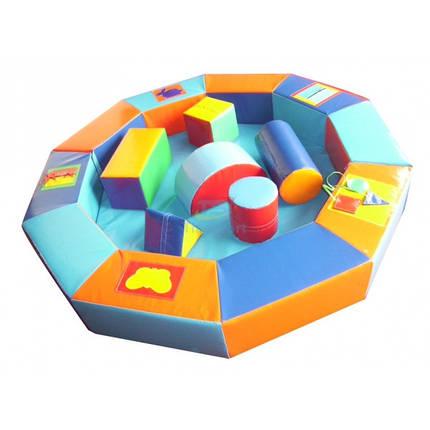 Сухой бассейн-манеж цветной с конструктором 210х30 см, фото 2