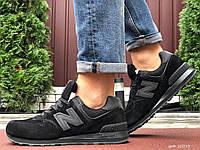 Мужские зимние замшевые кроссовки New Balance 574 чёрные, фото 1