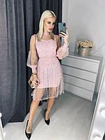 Женское яркое платье с бусинами