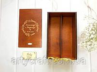 """Деревянная коробка для свадебных бокалов с гравировкой """"Венок (3)"""" Красное дерево, фото 3"""