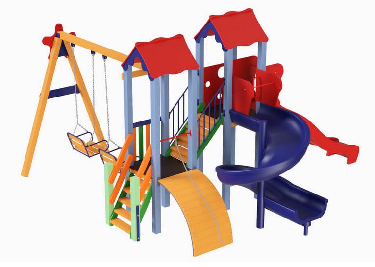 Детский комплекс Авалон с пластиковой горкой H 1,5 м