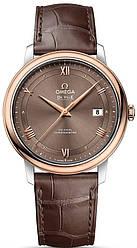 Часы наручные мужские OMEGA PRESTIGE CO‑AXIAL 424.23.40.20.13.001, сталь - розовое золото, кожаный ремешок