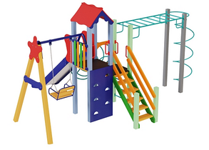 Детские площадки из металла Луч, высота горки 1,5 м, фото 2
