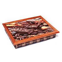 Піднос на подушці BST 710050 44*36 коричневий шоколад, зерна кави, кориця