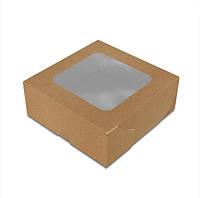Коробка 130х130х50 мм з вікном для суші Крафт (ящ:900 шт)