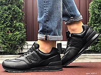 Мужские зимние кожаные кроссовки New Balance 574 чёрные, фото 1