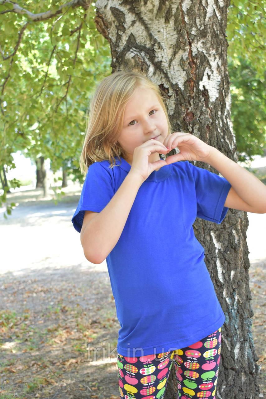 Футболка детская синяя электрик на девочку