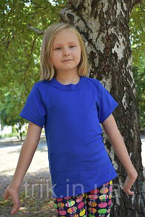 Футболка детская синяя электрик на девочку, фото 2
