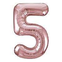 Фольгированный шар-цифра 5 Slim розовое золото 102см Agura