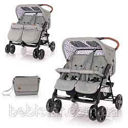Детская прогулочная коляска для двойни серая Lorelli Twin Dark Grey Lighthous для детей c 6 месяцев до 3-х лет