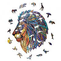 """Деревянный детский пазл. Большой экологичный пазл для детей и взрослых GO Puzzle """"Легенда льва"""" 141 деталь."""