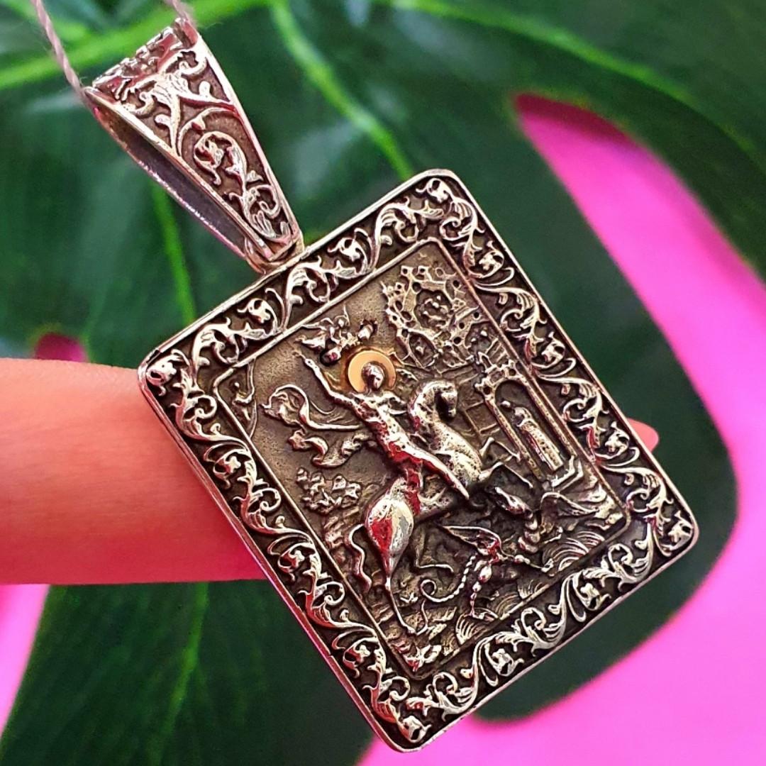 Георгій Побідоносець і Архангел Михайло натільна срібна іконка - Святий Георгій та Михайло кулон срібло 925