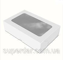 Коробка 200х130х50 мм з вікном для суші Біла (ящ:650 шт)