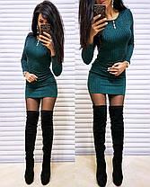 Платье короткое обтягивающее в полоску с люрексом трикотаж, фото 3
