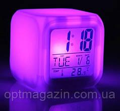 Часы хамелеон с термометром будильник ночник