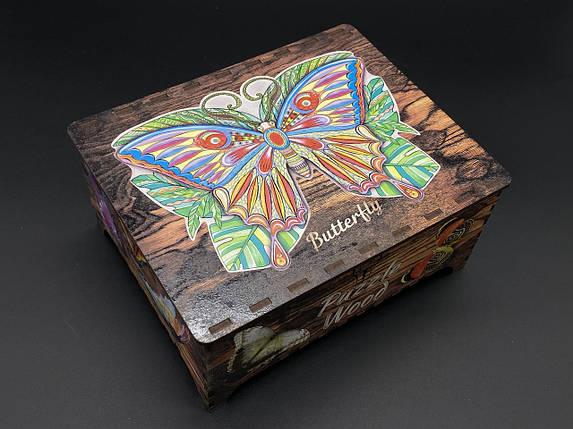 Пазл з фанери. Метелик. Розмір 419x316 мм. 191 елемент., фото 2