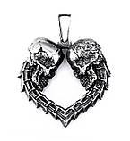 Подвеска серебряная Два черепа Сердце ПС-141 Б, фото 2