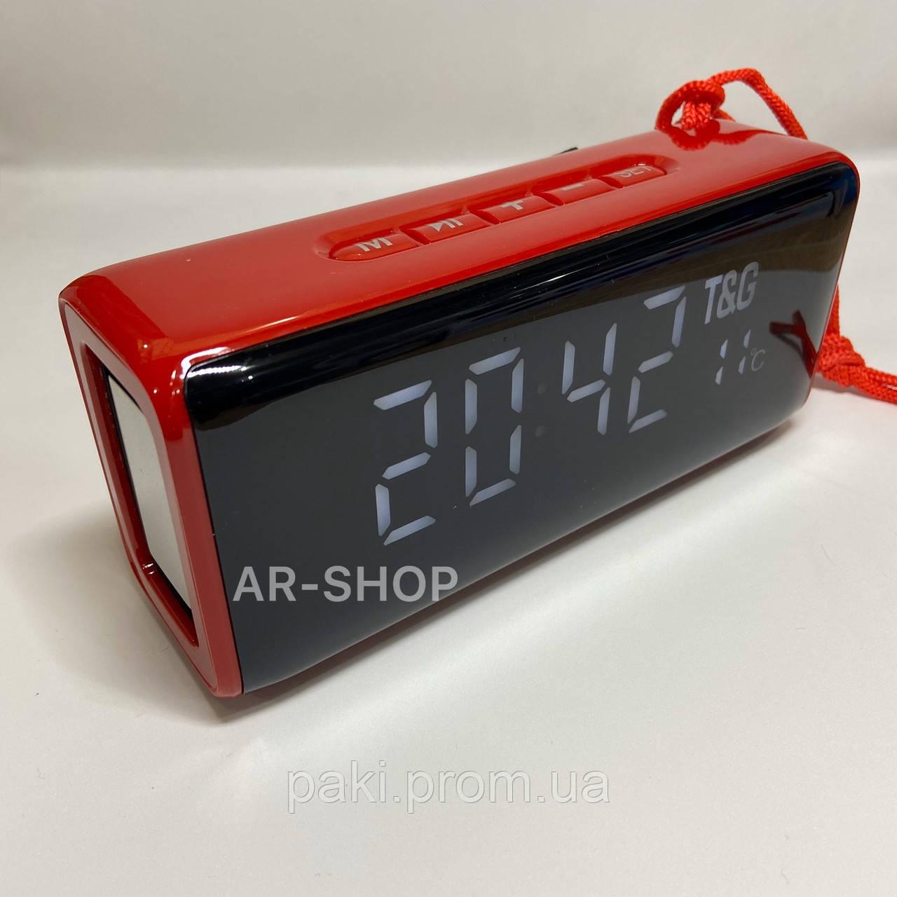 Беcпроводная портативная колонка T&G TG-174 с часами, радио и термометром (Красная)