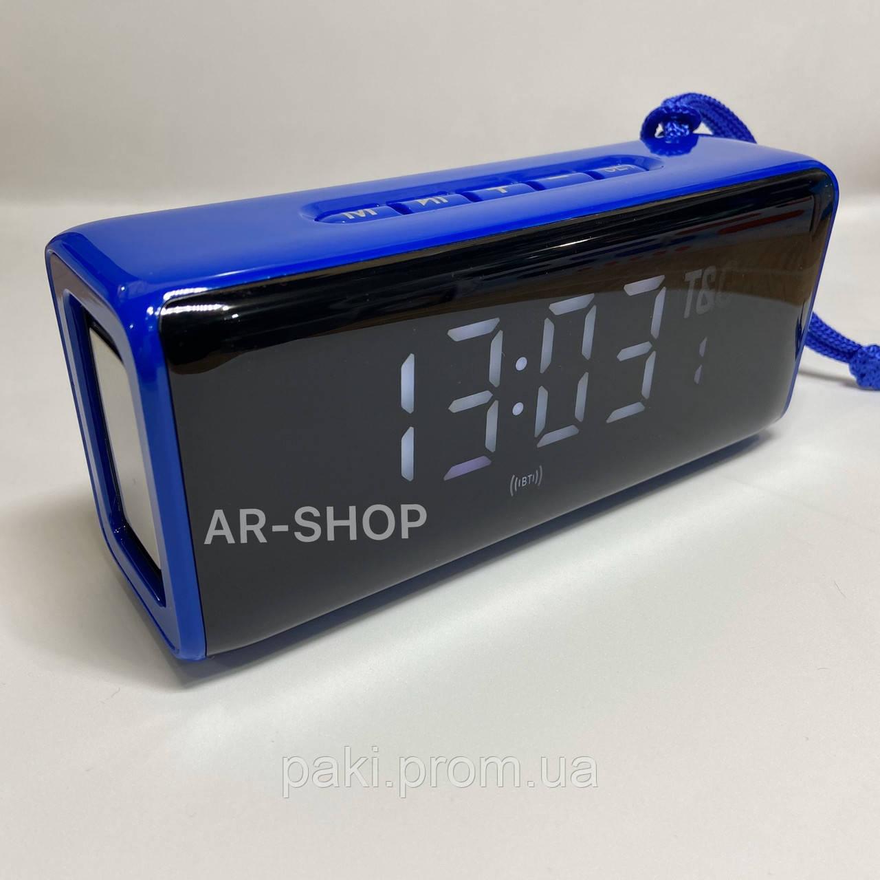 Беcпроводная портативная колонка T&G TG-174 с часами, радио и термометром ( Синяя)