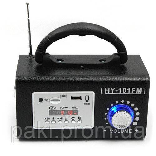 Колонка портативная HY-101FM, с радиоприемником, кардридером, разъем для наушников, LINE, дисплей, пульт ДУ