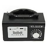 Колонка портативная HY-101FM, с радиоприемником, кардридером, разъем для наушников, LINE, дисплей, пульт ДУ, фото 2