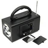 Колонка портативная HY-101FM, с радиоприемником, кардридером, разъем для наушников, LINE, дисплей, пульт ДУ, фото 4