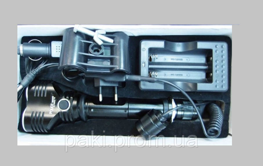 Тактический фонарь Police 12V BL-Q2822- 30000W T6