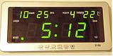 Часы электронные 2158-2 зеленые 220v+12v, фото 2
