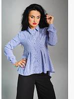 Стильная и элегантная блуза из софта в классическом стиле  с удлиненной спинкой синий