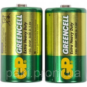 Батарейка GP 13G-S2 Greencell R20, D