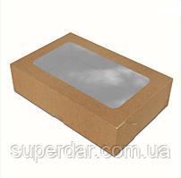 Коробка 200х130х50 мм з вікном для суші Крафт (ящ: 650 шт)