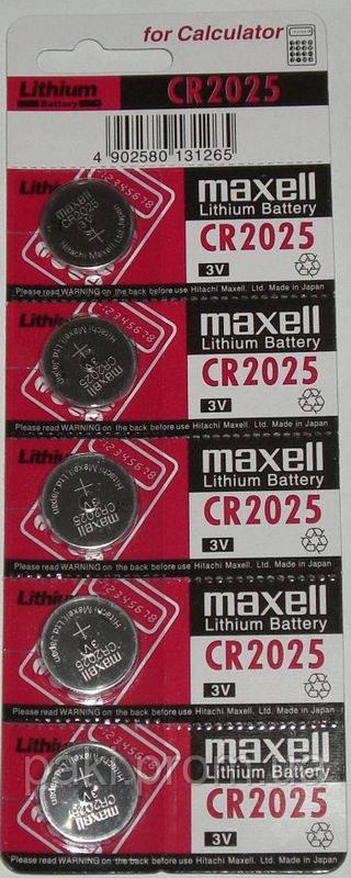 Батарейка дисковая Maxell CR 2025 5BL Lithium, 3V