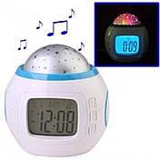 Нічник-проектор з годинником 1038, фото 3