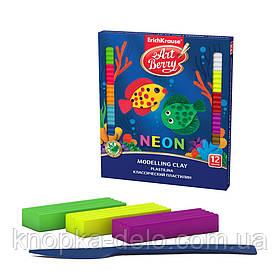 Классический пластилин ArtBerry EK41767 с Алоэ Вера Neon 12 цветов со стеком, 216г