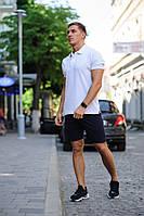 Комплект - черные шорты и белая футболка поло, фото 1
