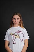 Белая яркая футболка Thrasher с розовой пантерой, фото 1