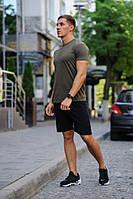 Летний мужской комплект - хаки футболка и черные шорты