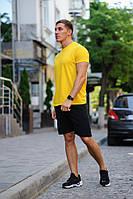 Летний мужской комплект - желтая футболка и черные шорты