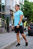 Летний мужской комплект - бирюзовая футболка и черные шорты