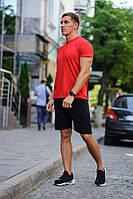 Летний мужской комплект - красная футболка и черные шорты