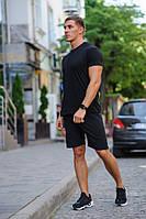 Летний мужской комплект - черная футболка и черные шорты