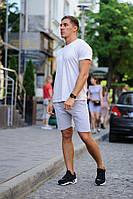 Летний мужской комплект - светло-серая футболка и серые шорты