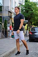 Літній чоловічий комплект - темно-синя футболка і сірі шорти