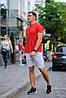 Літній чоловічий комлект - червона футболка і сірі шорти