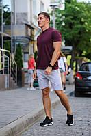 Летний мужской комплект - бордовая футболка и серые шорты