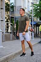 Летний мужской комплект - хаки футболка и серые шорты