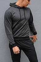 Темно-серая худи унисекс с капюшоном - весна-осень, фото 1